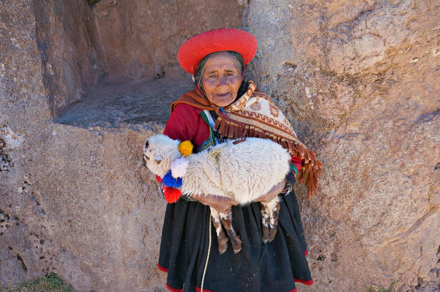 Cusco Woman Poses with Lamb