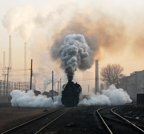china industrial smoke railway steam pollution powerstation province sy liaoning wulong 1216 fuxin miningrailway