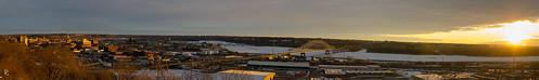 bridge winter panorama wisconsin sunrise river dawn frozen illinois iowa mississippiriver dubuque