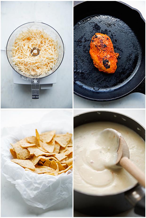 Loaded Tandoori Chicken Nachos - made with tandoori spiced chicken, homemade cheese sauce and tons of pico de gallo! Perfect for game day! #tandoorichicken #nachos #football #gameday   Littlespicejar.com @littlespicejar