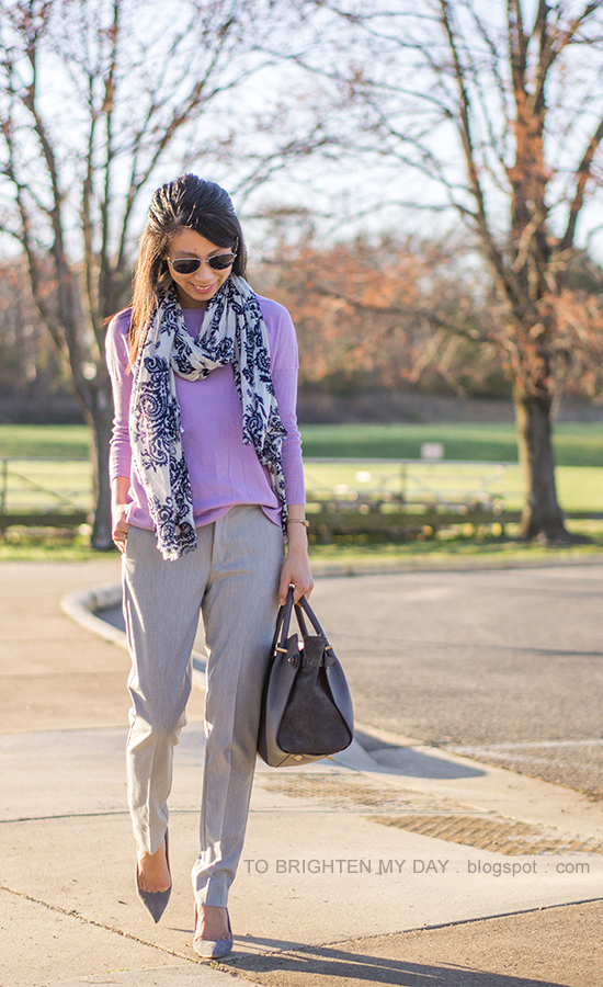 floral printed scarf, light purple sweater, gray pants, gray suede pumps
