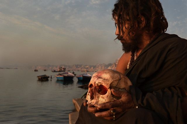 Aghori sadhu portrair, Ganges river, Benares, India