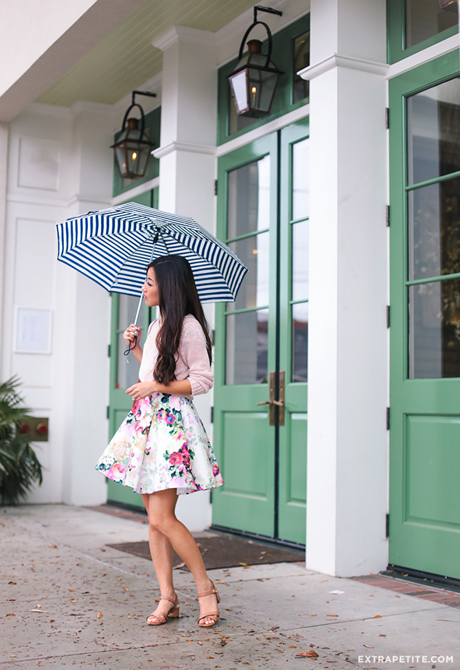 rainy day spring outfit floral dress petite