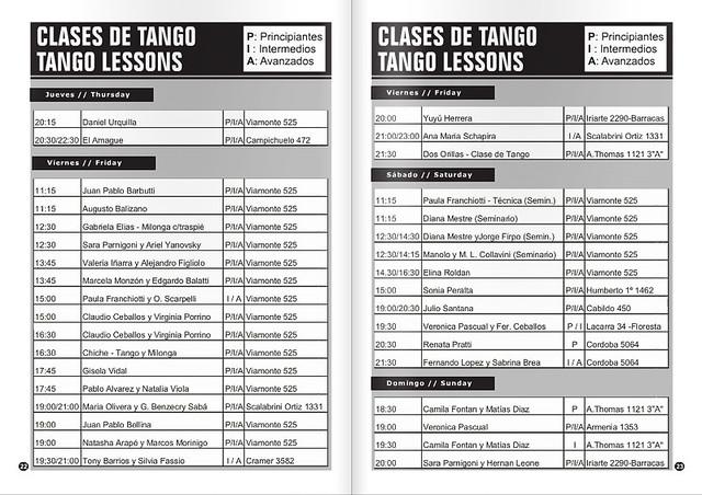 Revista Punto Tango Enero 2016 - Listado de Clases de Tango
