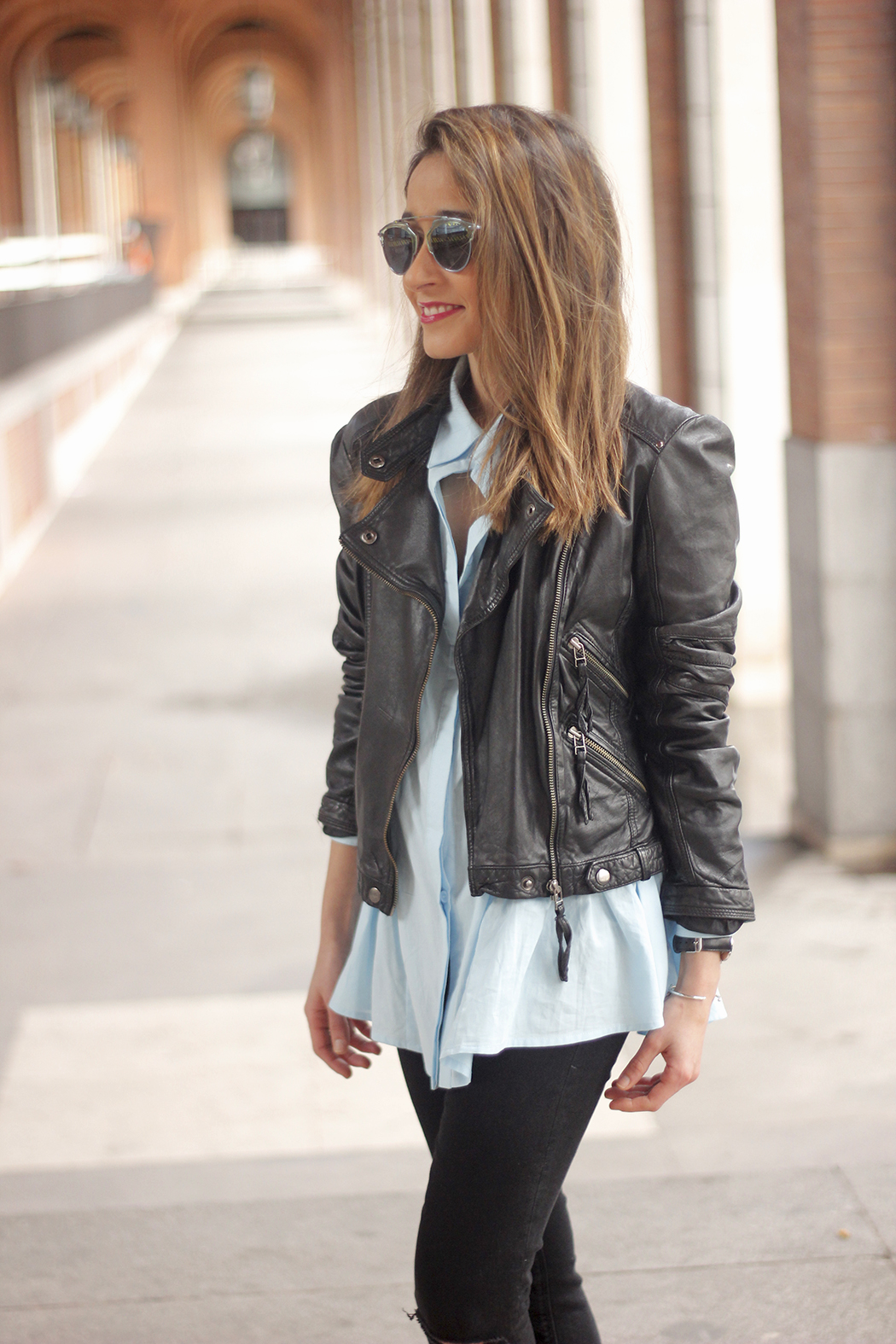 black leather biker black ripped jeans blue shirt outfit streetstyle11