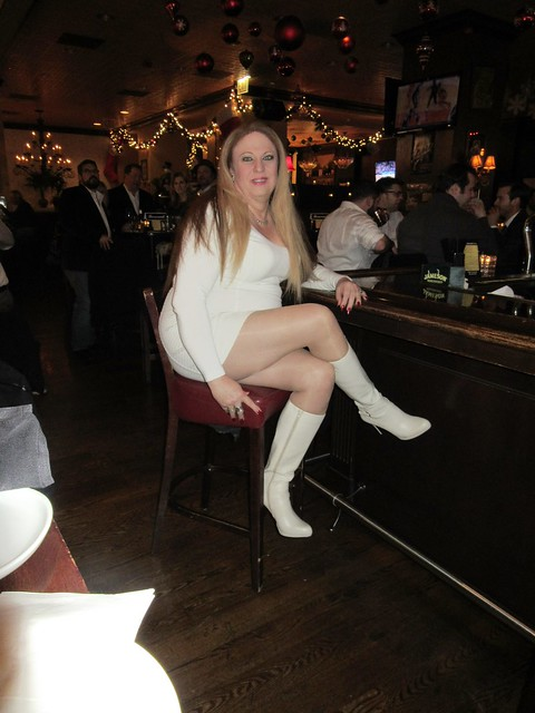 White Boots and Mini Dress at the Bar