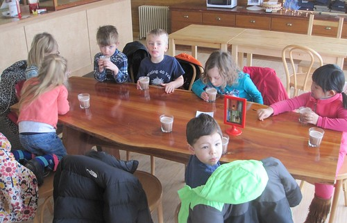enjoying the delicious hot chocolate!