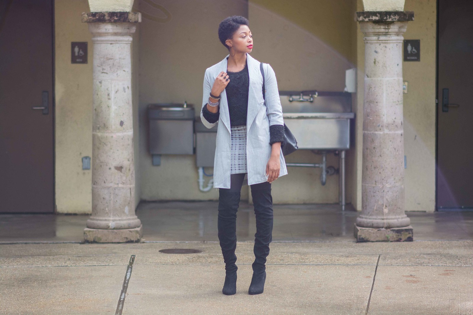 grey black outfit of the day street fashion