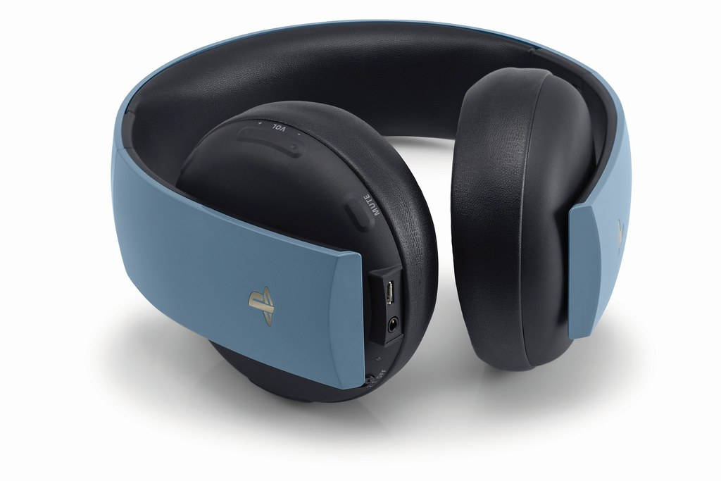 Gray Blue Gold Wireless Headset