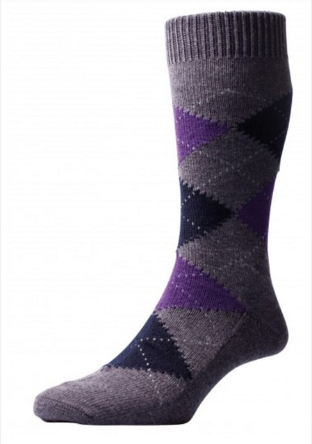 Well-Groomed Q&A Argyle Amethyst Grey Socks4