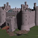 Holt Castle, from the north-west, c.1495. Note the de Warenne lion above the entrance giving the castle its medieval name, Castrum Leonis.