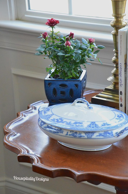 Antique pie crust table/Noritake Blue and White - Housepitality Designs