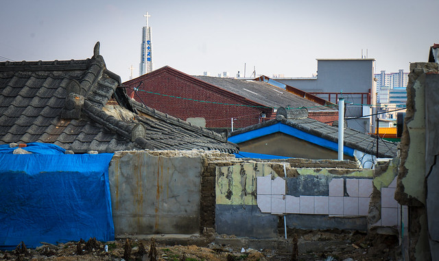 Old hanok with brick warehouse in the background, Iksan, South Korea
