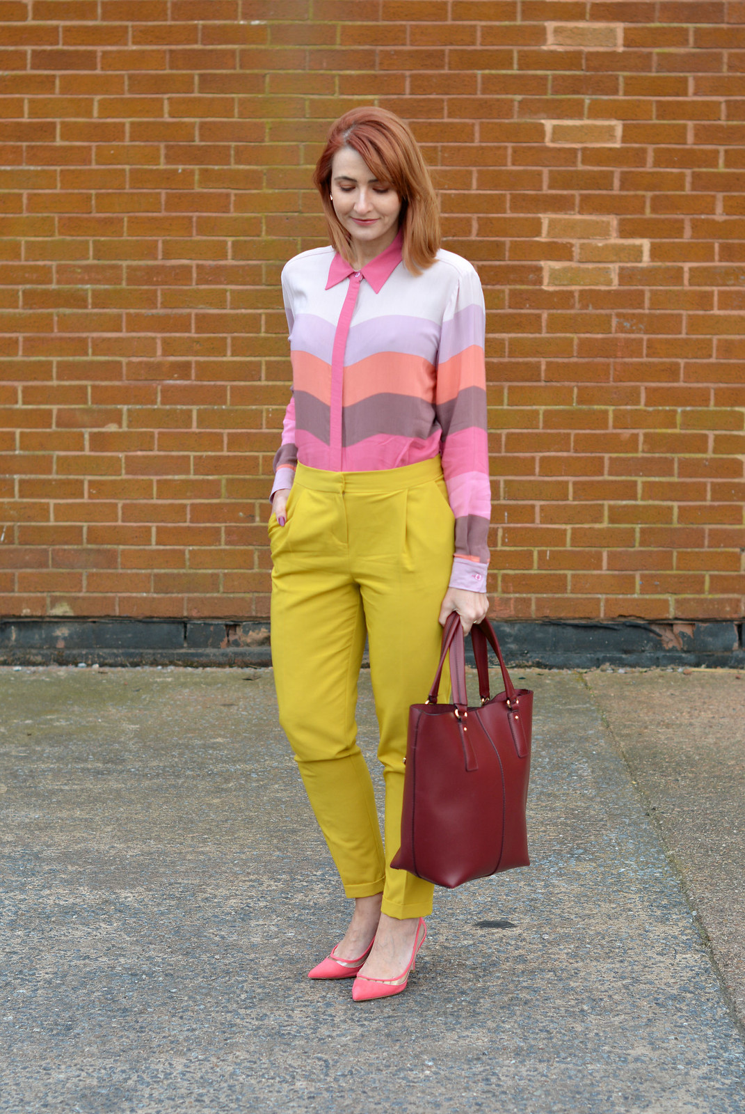 SS16 pastel bright stripes, mustard yellow trousers, coral heels | Not Dressed As Lamb