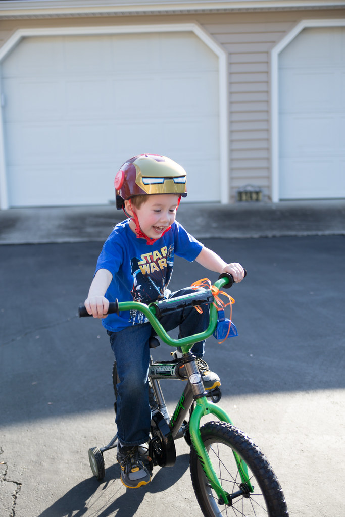 Enjoying his bike