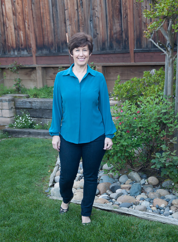teal silk blouse full length