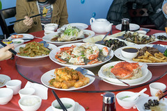 Asian family  eating Chinese food