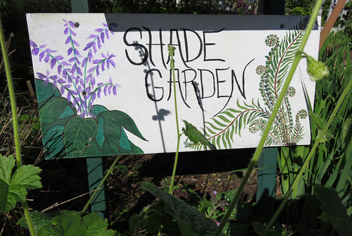 A 'Shade Garden' sign at the Washington State University Discovery Gardens near Mt. Verson, Washington