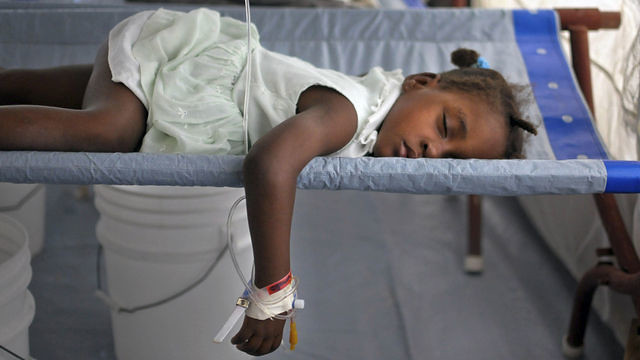 Haitian child with cholera