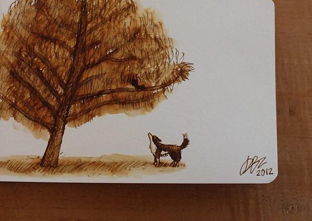 Today I came across this beautiful sepia painting my son Daniel did of Turbo 4 yrs ago. He was so obsessed with squirrels! ❤️ Hoy me encontré este dibijo en sepia que hizo mi hijo Daniel de Turbo hace 4 años. Estaba tan obsesionado con las ardillas!