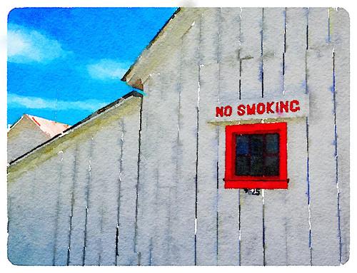 The barn at Douglas Ranch using the photo app Waterlogue 'Vibrant' look