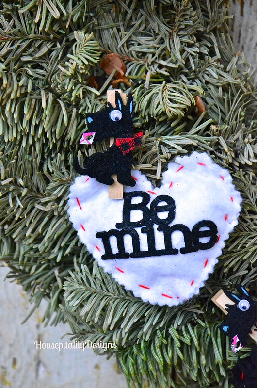 Valentine's Day Wreath/Felted Heart - Housepitality Designs