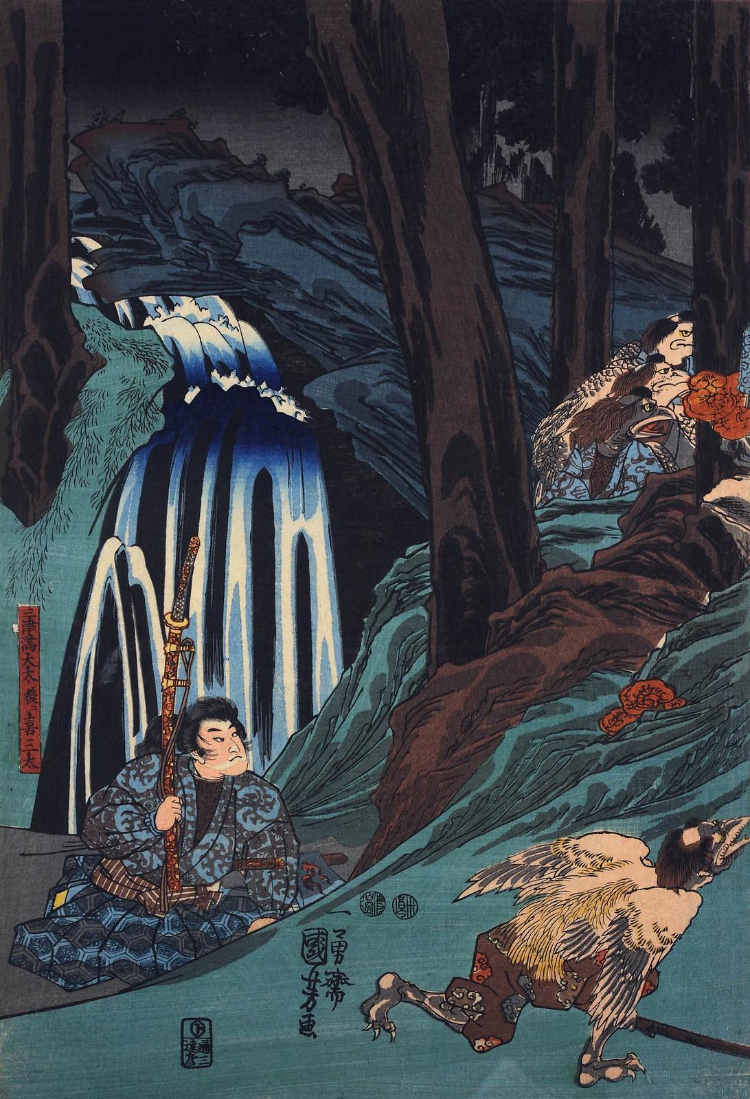 Utagawa Kuniyoshi - Sojobo, King of the Tengu, and Yoshitsune leaping in the air, 1847-52 (left panel)