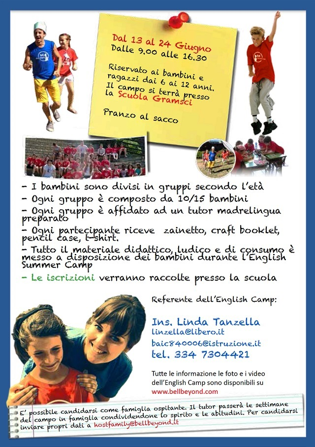 Noicattaro. English Summer Camp Pende intero 2