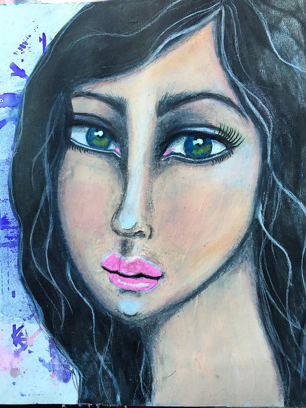 Mixed media girl in art journal2