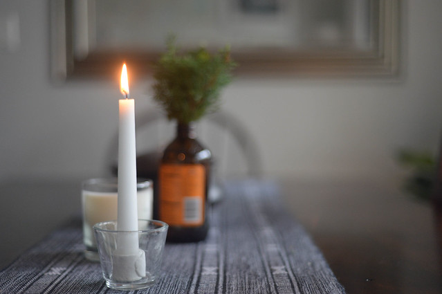 candle on a rainy day