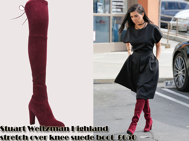 Stuart-Weitzman-Highland-stretch-over-knee-suede-boot,Thigh high boots, over the knee boots, burgundy Thigh high boots, burgundy over the knee boots, Stuart Weitzman Highland stretch over knee suede boot, fit and flare black dress, black chocker, black necklace