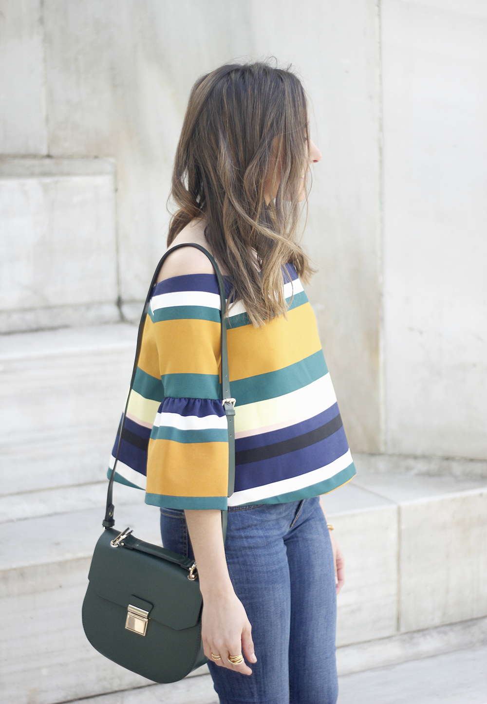 Off The Shoulder Top with stripes jeans heels accessories bag aristocrazy04