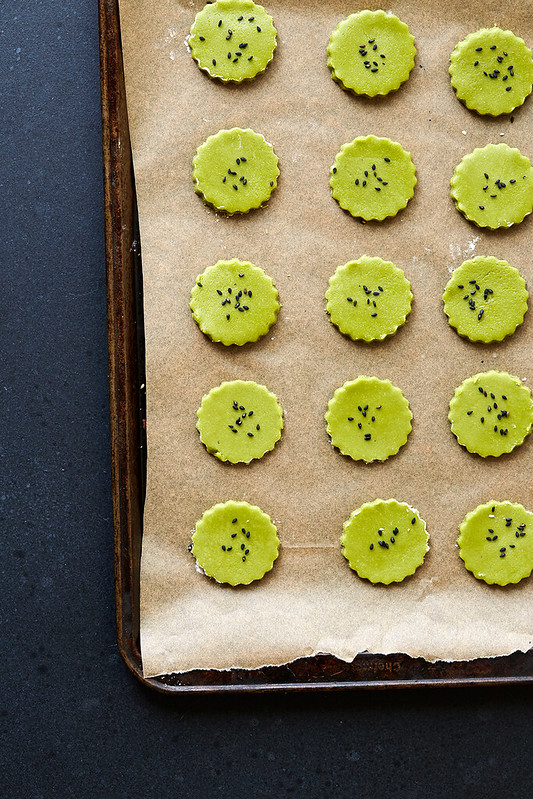 Grain-free Matcha Orange Blossom Shortbread with Black Sesame Seeds