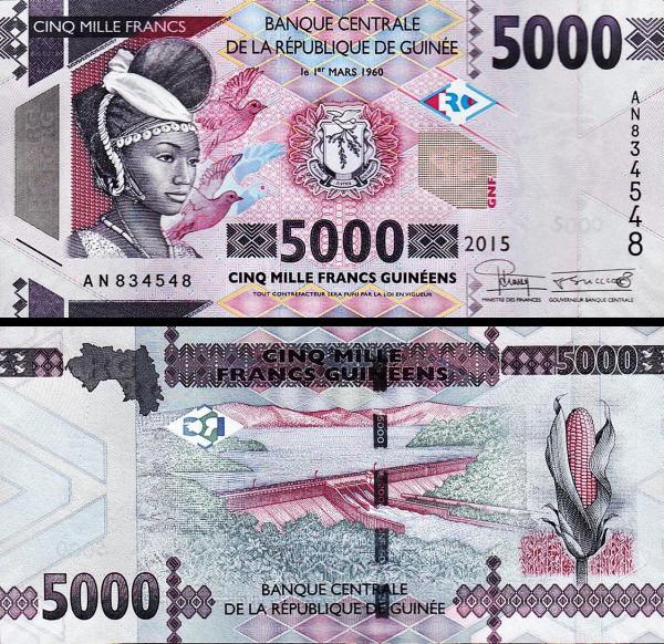 5000 Frankov Guinea 2015, P48 UNC