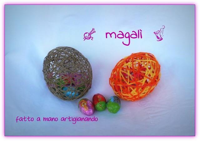 uova di spago e lana ripiene di ovetti di cioccolato