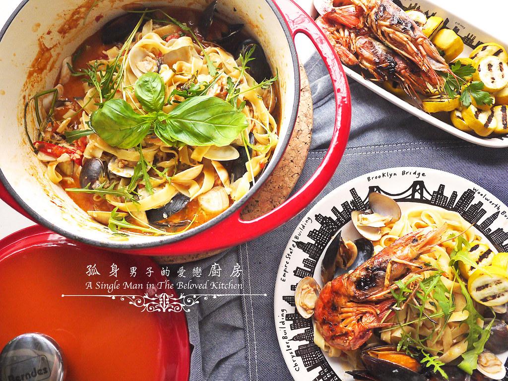 孤身廚房-寶迪鍋一鍋到底茄汁綜合貝類義大利麵佐烤天使紅蝦與櫛瓜29