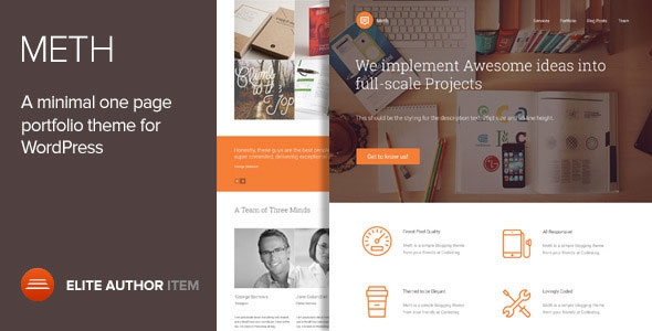 Meth v1.2.1 – A Minimal One Page Portfolio Theme