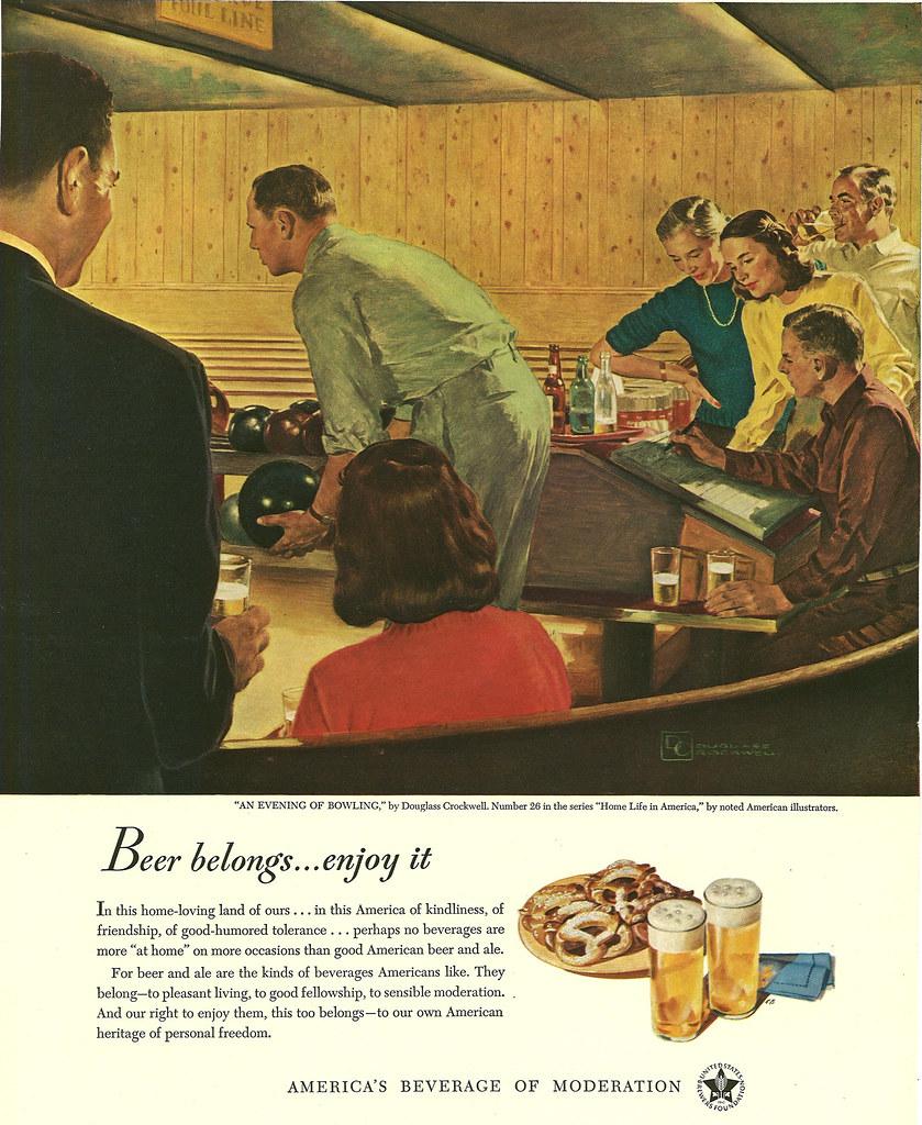 026. An Evening of Bowling by Douglass Crockwell, 1949