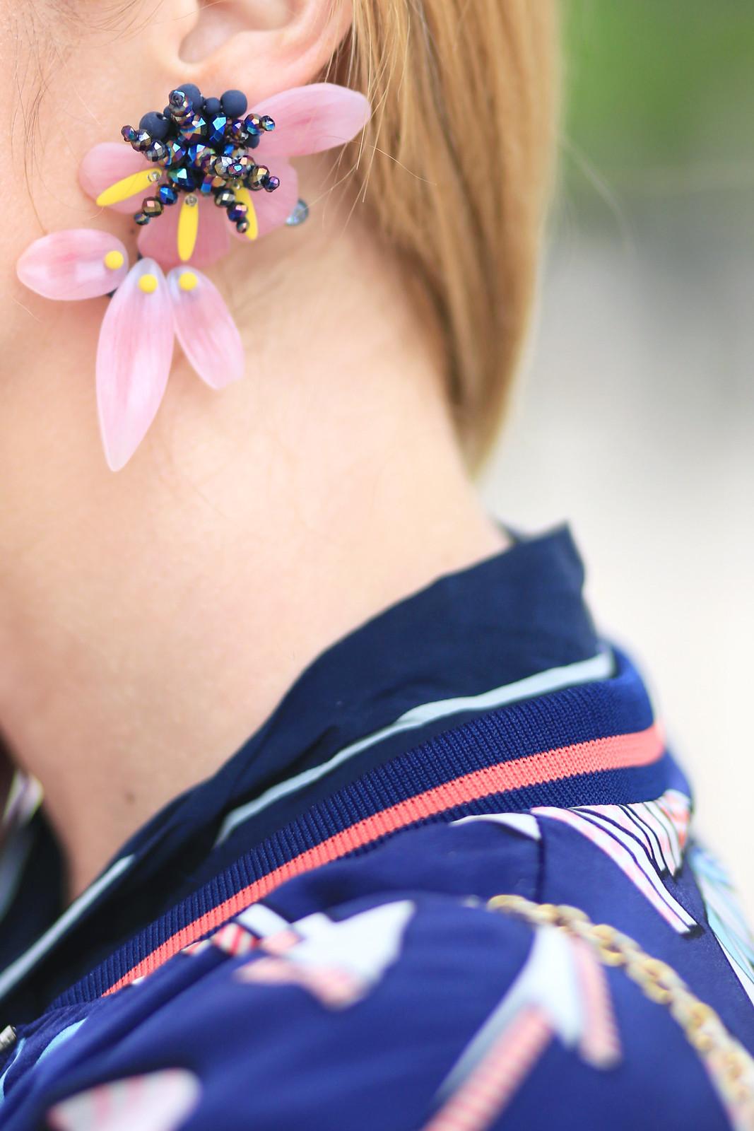 boucle d oreille fleur rose et bleu