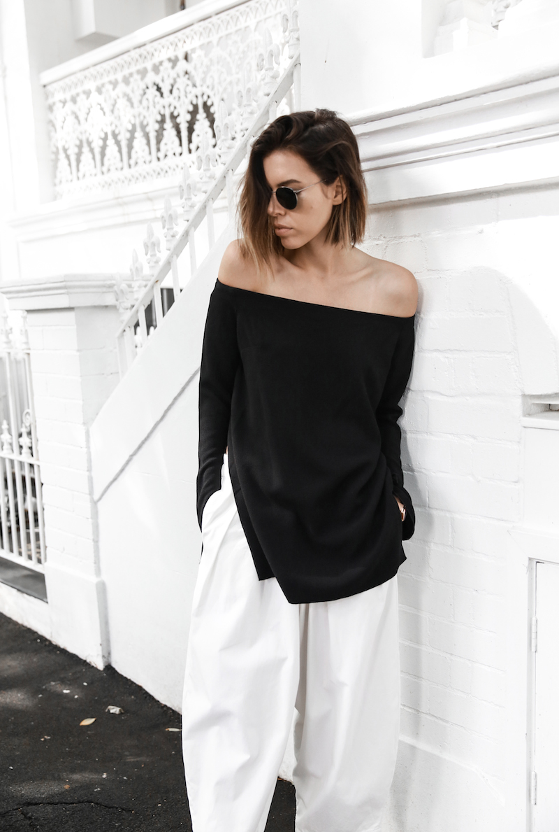 off shoulder top Ellery Queenie monochrome street style inspo black white Bassike pants ATP Rosa sandals Givenchy clutch resort off duty (3 of 4)