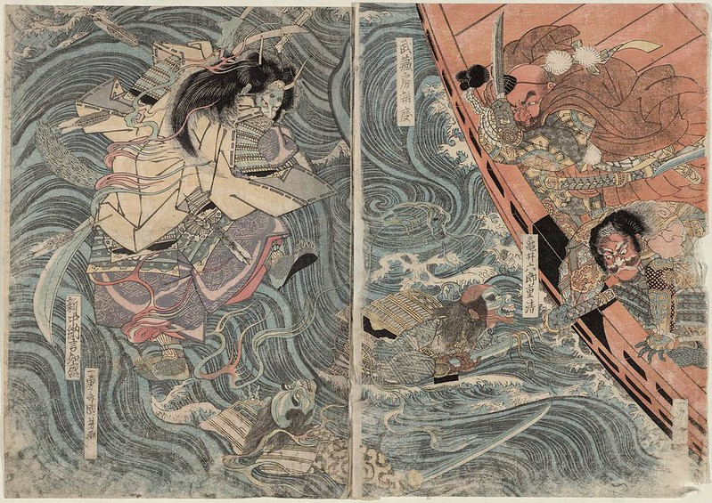 Utagawa Kuniyoshi - Benkei Fighting the Ghost of Taira Tomomori, 1818