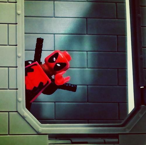 #deadpool #peekaboo #yeswecantwait for #deadpoolthemovie #marvel #lego #minifigure
