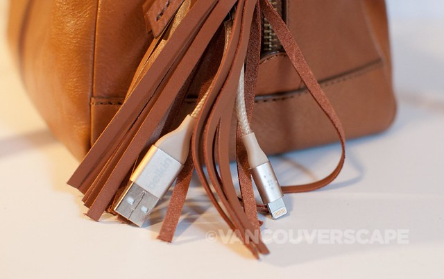 Belkin MIXIT Lighting to USB leather tassel/Fossil Sydney satchel