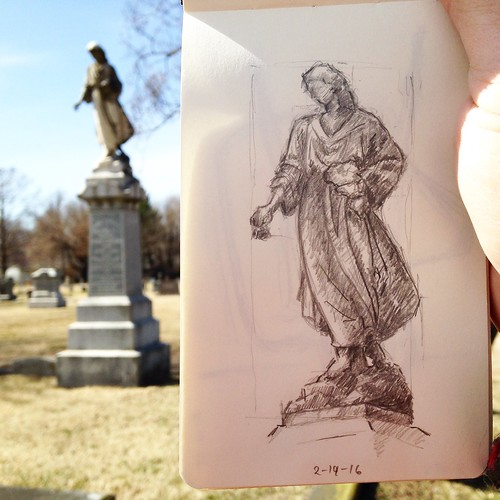 Revisited Hazelwood Cemetery at lunch today and had the chance to shade in last week's headstone sketch.