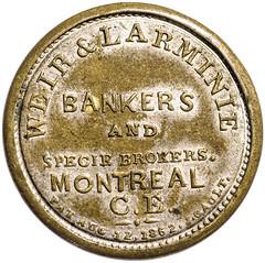 One Cent Weir & Larminie Encased Postage Stamp reverse