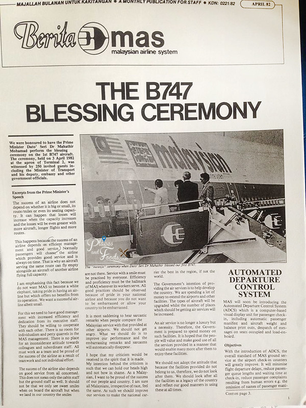 malaysia airlines b747 blessing ceremony 1982 newsletter