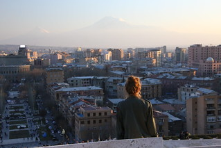 Sunset over Yerevan and Mt Ararat