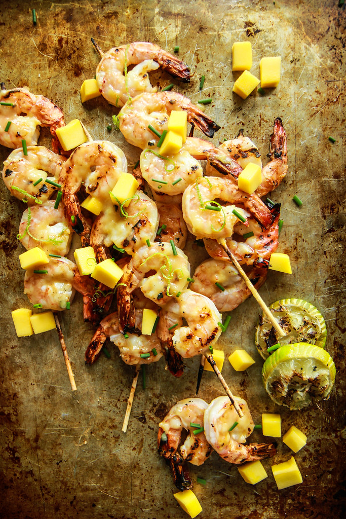 Grilled Honey Lime Mango Shrimp from HeatherChristo.com