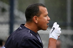 Alex Rodriguez munches down on some seeds