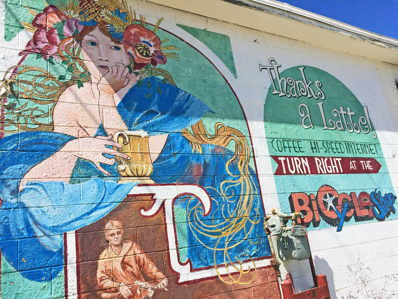 Love this mural in downtown Grayling, Michigan - via Wading in Big Shoes